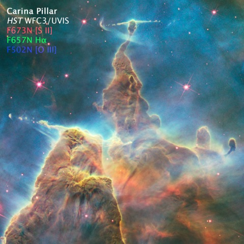 Color composite of Carina Pillar from HST WFC3