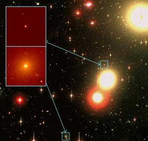 UCDs in the Fornax Cluster. The background image was taken by Dr Michael Hilker of the University of Bonn using the 2.5-metre Du Pont telescope, part of the Las Campanas Observatory in Chile. The two boxes show close-ups of two UCD galaxies in the Hilker image. (Credit: These images were made using the Hubble Space Telescope by a team led by Professor Michael Drinkwater of the University of Queensland.)