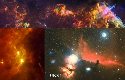 Herschel, IRAS, and optical images of Orion's star-forming complex at multiple scales and multiple wavelengths.