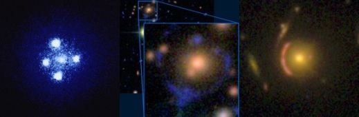 a) an Einstein cross (credit: NASA/ESA); b) an example from the Space Warps dataset; c) a known lens in CANDELS that Galaxy Zoo users spotted.