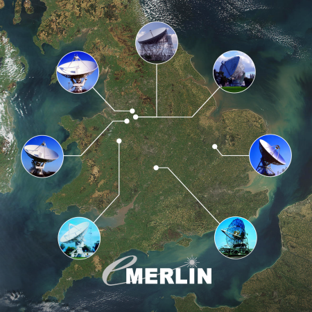 The e-MERLIN network (from www.e-merlin.ac.uk) of radio telescopes.