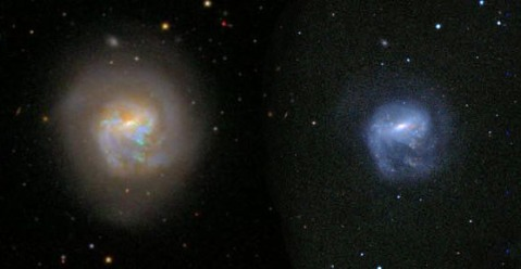 Even though the optical SDSS image (left) is deeper than the near-IR UKIDSS image (right), you can still see that the UKIDSS image is less affected by the dust lanes seen at left.
