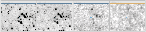 WISE infrared images of the galaxy ARG0002h6v. Note how the central galaxy shows up strongly in the two bands on the left (3.4 and 4.6 microns), but is not detected in either of the bands on the right (12 and 20 microns).