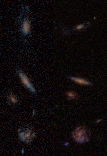 Comparison of the different sets of images from the GOODS survey taken with the Hubble Space Telescope. The left shows shallower images from GZH with only 2 sets of exposures; the right shows the new, deeper images with 5 sets of exposures now being classified.