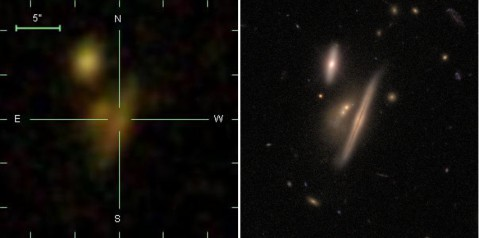 SDSS (on Earth) at left, HST (in space) at right.