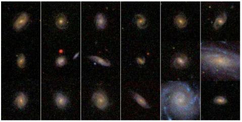 Spiral galaxies from SDSS and Galaxy Zoo (Lintott et al. 2008)