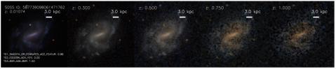 An SDSS image of a barred spiral, artificially processed to appear as if it were at a variety of distances.