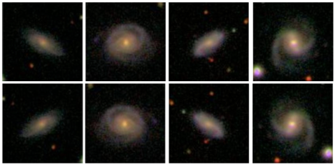 Images of four spiral galaxies, both as the originals (top) and horizontally flipped (bottom).