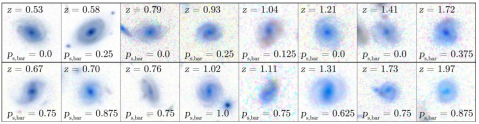 Disk galaxies in CANDELS, including those without bars (top row) and those with bars (bottom row). From Simmons et al. (2014).