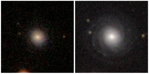 Left: an SDSS image of the galaxy J225336.34+000347.4. Right: a DECaLS image of the same galaxy.
