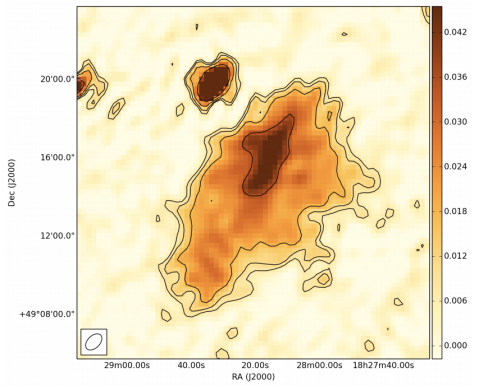 Example of a new radio remnant, named BLOB1, detected with the LOFAR telescope at 137 MHz. From Brienza et al. (2015).