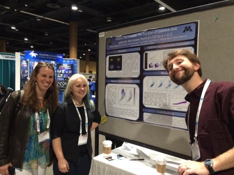 Asst. Prof Lucy Fortson, PhD student Melanie Galloway, and postdoc Kyle Willett (Minnesota) at an evening poster session at the 227th AAS meeting.