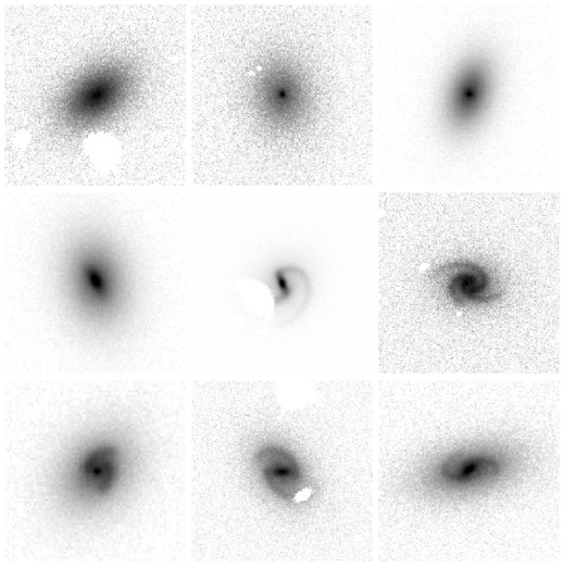 The nine synthetic galaxy images, each of which look very realistic (but without clumpy star-forming regions). Most have spiral arms, and some have bars.
