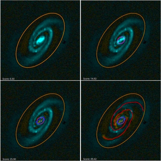 Four-panel figure showing the galaxy builder interface, a spiral galaxy is visible in blue, and in each panel another component is added to gradually remove all the visible light from the galaxy.